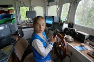 Girl in Achieve fishing trawler